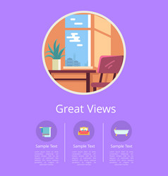 Great views in windows comfortable hotel rooms vector