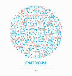 Gynecologist concept in circle with thin line icon vector
