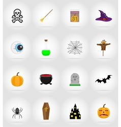 halloween flat icons 17 vector image