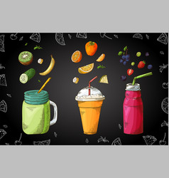 hand drawn smoothie poster with of vector image
