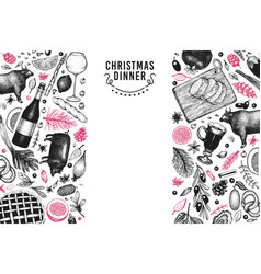 Happy christmas dinner design template vector