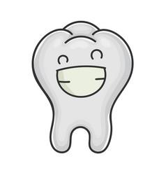 happy cute smiling tooth cartoon vector image