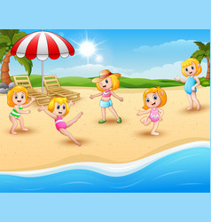 happy kids playing on the beach vector image