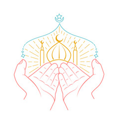 Icon of hands praying namaz vector