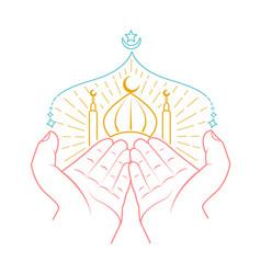 icon of hands praying namaz vector image