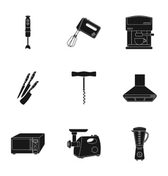 Kitchen set icons in black style big collection vector