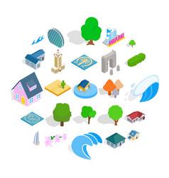 landscape icons set isometric style vector image