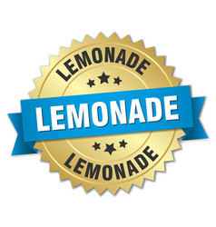 Lemonade 3d gold badge with blue ribbon vector