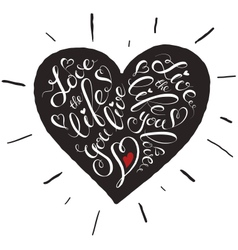 lettering heart vector image
