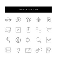 Line icons set fintech pack vector