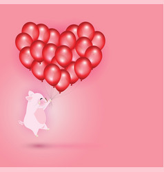 little pig flying with red balloons vector image