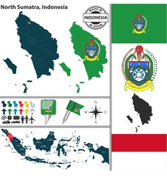 Map of North Sumatra vector image