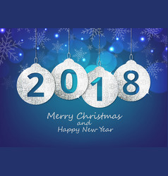 Merry christmas and happy new year hanging 2018 vector
