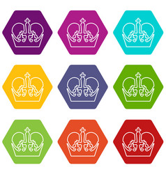 monarch crown icons set 9 vector image