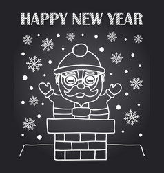 New year chalkboard card with santa claus vector