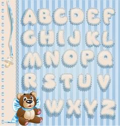 Newborn boy openwork lace font vector image