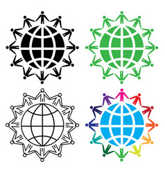 People around world concept icon set vector
