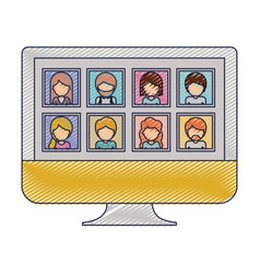 People gallery picture profiles social network in vector