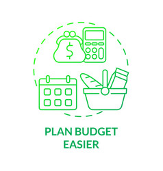 Plan budget easier green gradient concept icon vector