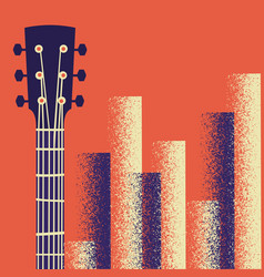 retro music poster background with guitar vector image