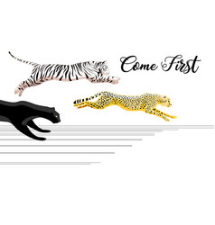 running panther tiger and leopard vector image