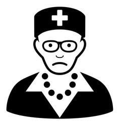sad old nurse black icon vector image