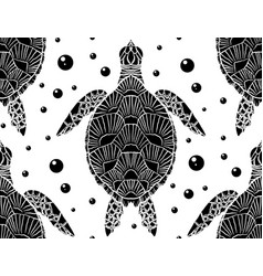 seamless pattern with black and white silhouette vector image