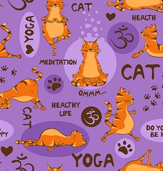 Seamless pattern with red cat doing yoga position vector