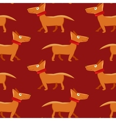 Seamless pattern with repeating dog on red vector