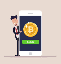 Sending bitcoin from your mobile phone concept of vector