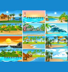 Set beach scenes vector