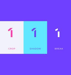 set number 1 minimal logo icon design template vector image