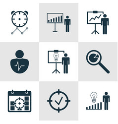 set of 9 administration icons includes project vector image