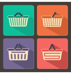 Set of shopping carts and baskets icons vector image