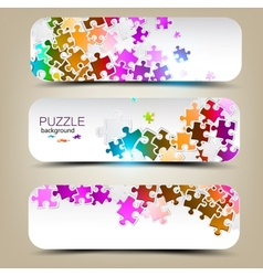 set three banners with mosaic made from puzzle vector image
