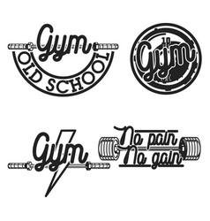set vintage gym emblems vector image