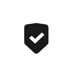 shield icon isolated flat black and white vector image