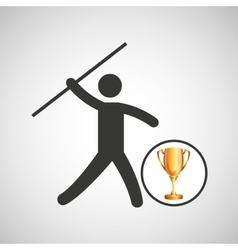 silhouette man javelin athlete trophy vector image