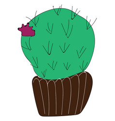 simple cactus with purple flower on white vector image