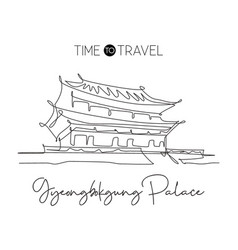 single continuous line drawing gyeongbokgung vector image