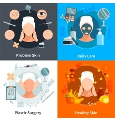 Skin Care Flat 2x2 Design Concept vector