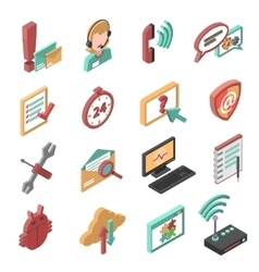 Support Isometric Icons Set vector image