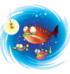 suspiciuos fish vector image