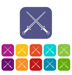 swords icons set vector image