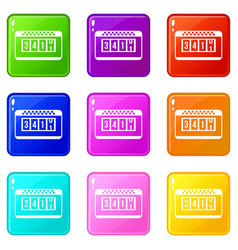 taximeter icons 9 set vector image