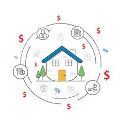 thin line flat design smart house infographics vector image