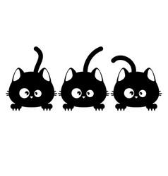 Three black cat faces vector