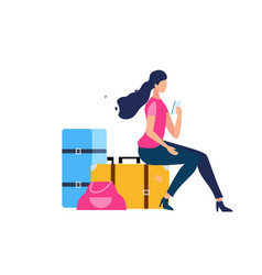 tourist traveling with luggage flat concept vector image