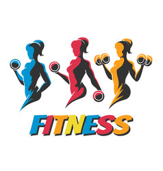 Training woman colorful fitness emblems vector