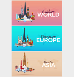 Travel to world airplane with attractions set of vector